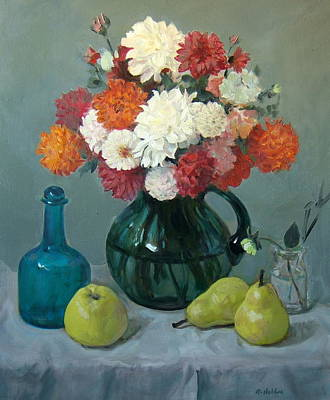 Painting - A Dahlia Bouquet Of Many Colors by Robert Holden