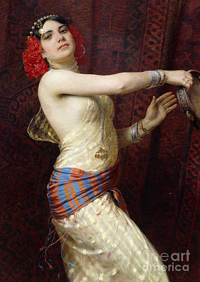 Concubine. Harem Girl Painting - A Damascan Dancer by Otto Pilny