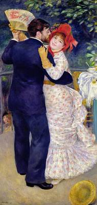 Flirt Painting - A Dance In The Country by Pierre Auguste Renoir