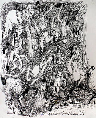 Drawing - A Dance Party by Barb Greene mann