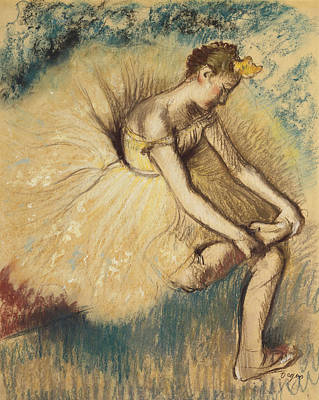 A Dancer Putting On Her Shoe Art Print by Edgar Degas