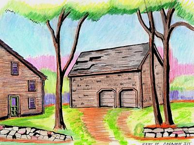 Old Barn Drawing Drawing - A Danvers Barn by Paul Meinerth