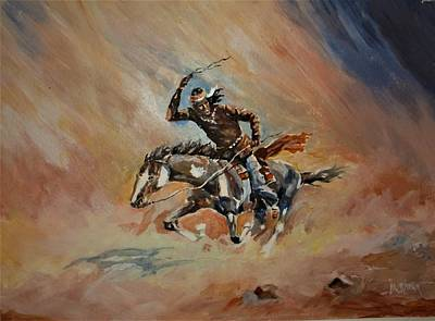 Painting - A Dash For Cover Racing Oncoming Sandstorm   by Al Brown