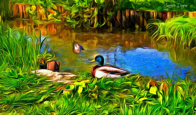 Waterfowl Painting - A Day At Lake - Pa by Leonardo Digenio