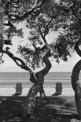 A Day At The Beach Bw Art Print