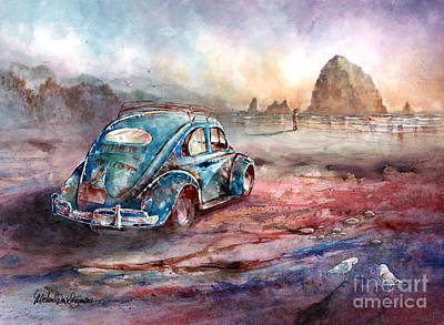 Oval Painting - A Day At The Beach Cannon Beach Oregon by Michael David Sorensen