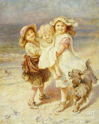 Dog On Beach Wall Art - Painting - A Day At The Beach by Frederick Morgan