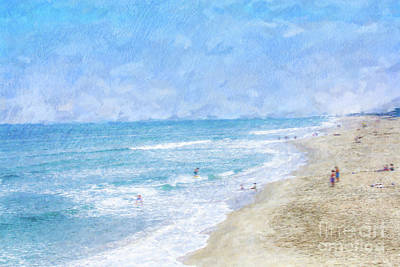 A Day At The Beach Print by Randy Steele