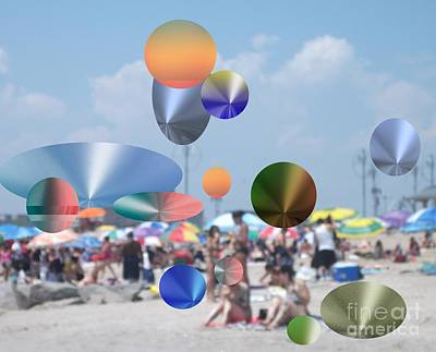Photograph - A Day At The Beach With Floating Metallic Icons by Joyce Dade