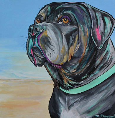 Painting - A Day At The Beach With Max by Patti Schermerhorn