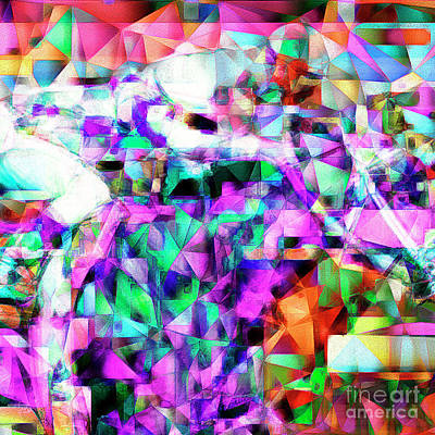 A Day At The Horse Race Track In Abstract Cubism 20170329 Square Art Print