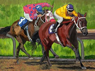 Kentucky Derby Painting - A Day At The Races by Michael Lee