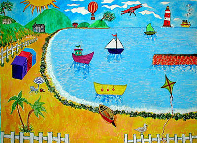 A Day At The Seaside Art Print by Sandy Wager