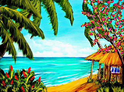A Day In Paradise Hawaii Beach Shack  #360 Art Print by Donald k Hall