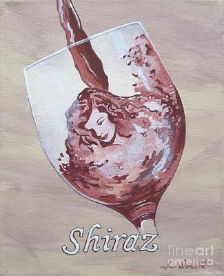 A Day Without Wine - Shiraz Art Print by Jennifer  Donald