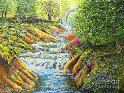 Painting - A Dazzling Waterfall Durng The Spring by Lee Nixon
