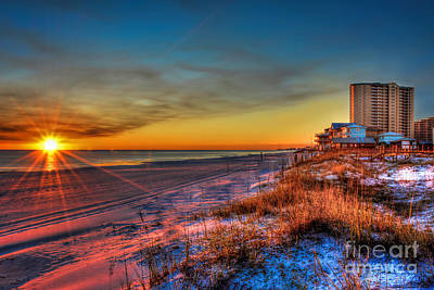 Photograph - A December Beach Sunset by Ken Johnson