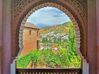 Digital Art - A Decorative Moorish Style Window In Alhambra by Digital Photographic Arts
