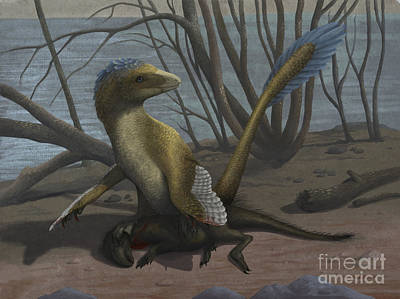 Carcass Digital Art - A Deinonychus Protects Its Kill by Emily Willoughby