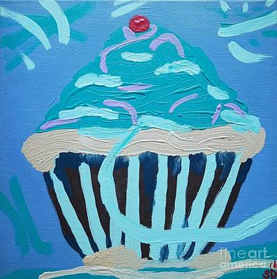 Frosted Cupcakes Digital Art - A Delicious Blue Frosted Cupcake by Scott D Van Osdol