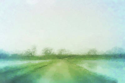 Wildlife Landscape Mixed Media - A Delta Road by Terry Davis