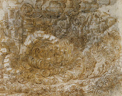 Drawing - A Deluge by Leonardo da Vinci