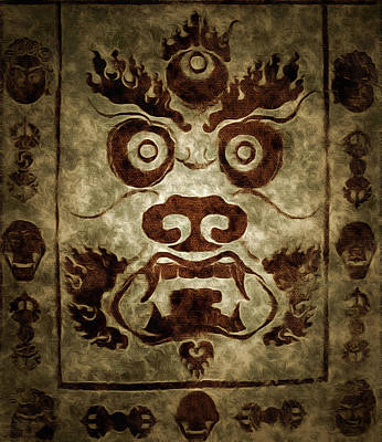 Religious Drawings Mixed Media - A Demonic Face by Mario Carini