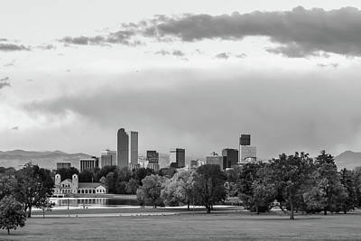 Photograph - A Denver Morning - Colorado Cityscape Skyline In Black And White by Gregory Ballos