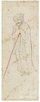 Safavid Painting - A Dervish Leaning On His Staff by Celestial Images