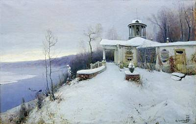 Snow Scene Painting - A Deserted Manor House  by Vladimir Pavlovich Solokov
