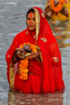 Digital Art - A Devotee  by Anil Sharma