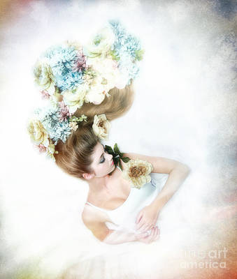 Fine Art Of Women Mixed Media - A Diadem Of Dreams by Spokenin RED