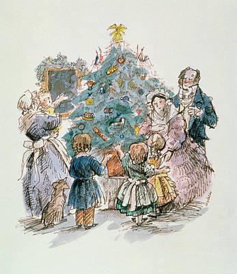 Mums Drawing - A Dickensian Christmas  The Tree by Carol Walklin