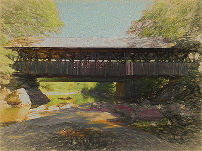 Photograph - A Digital Art Photo Of A Covered Bridge In Maine by Rusty R Smith