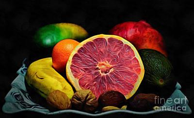 Grapefruit Digital Art - A Digital Still Life by Robert Zunikoff