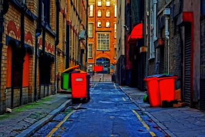 Spooky Scene Painting - A Digitally Constructed Painting Of An Inner City Back Alleyway by Ken Biggs