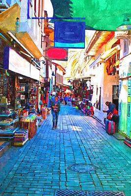 Ghetto Painting - A Digitally Constructed Painting Of Cobbled Back Streets Of Kaleici In Antalya Turkey by Ken Biggs