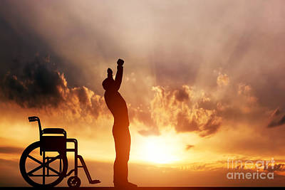 A Disabled Man Standing Up From Wheelchair Art Print