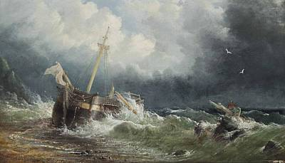 Storm Painting -  A Dismasted Merchant Vessel  by MotionAge Designs