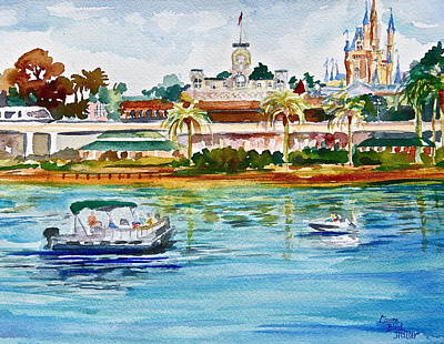 Speed Boat Painting - A Disney Sort Of Day by Laura Bird Miller