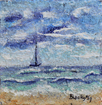 Mixed Media - A Distant Sail by Donna Blackhall