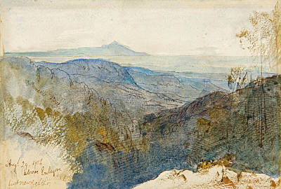 Drawing - A Distant View Of Mount Athos by Edward Lear