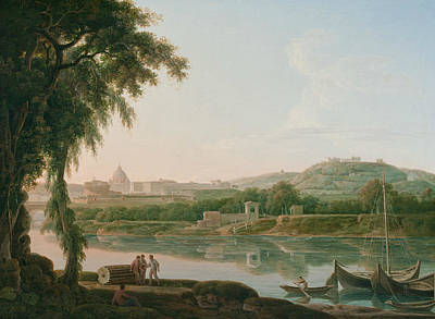 Distant Painting - A Distant View Of Rome Across The Tiber by Jacob More