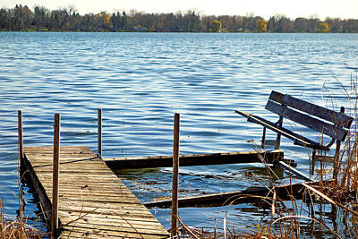 Photograph - A Dock And A Bench by Robert Meyers-Lussier