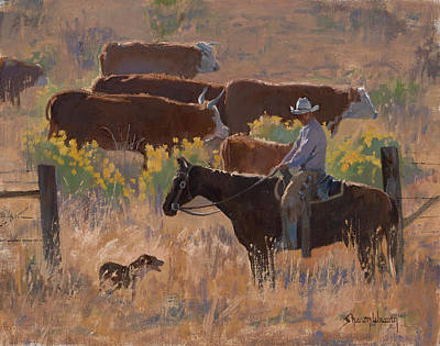 Painting - A Dog And His Cowboy by Sharon Weaver