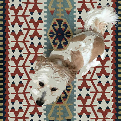 Mixed Media - A Dog In On A Rug by Stan  Magnan