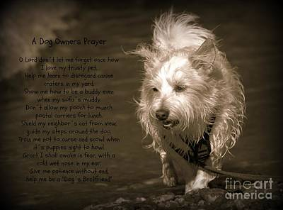 West Highland Terrier Black And White Image Photograph - A Dog Owners Prayer by Clare Bevan