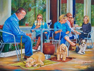 Glass Table Reflection Painting - A Dog's Life by AnnaJo Vahle