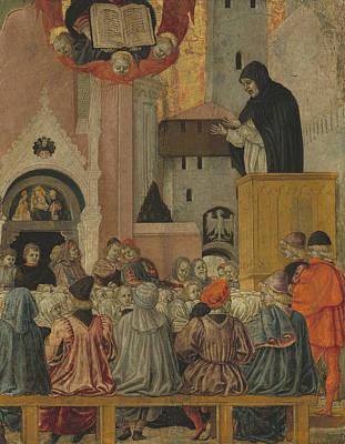 A Dominican Preaching Print by Agnolo degli Erri