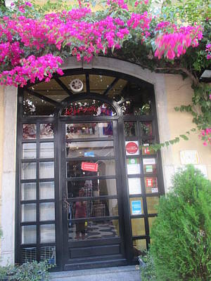 Restaurant Wall Art - Photograph - A Door Of A Restaurant In Cascais With Violet Flowers by Anamarija Marinovic
